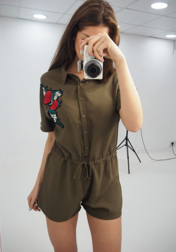 b60c3a144b Petal floral embroidered shirt playsuit