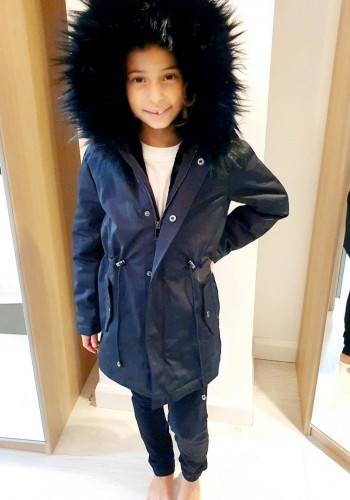 Polly Black Kids Faux Fur Hooded Coat