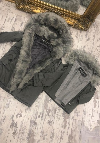 Polly Grey Kids Faux Fur Hooded Coat