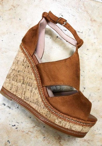 Priscilla Tan Cut Out Peep Toe Wedges
