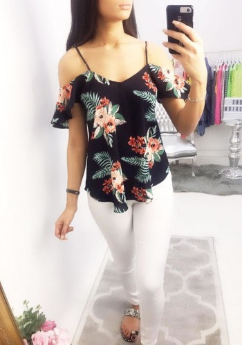 Purity Floral Print Cold Shoulder Top
