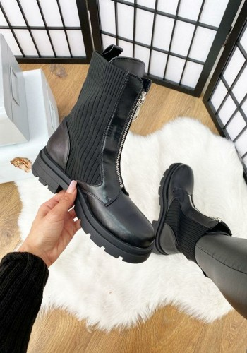 Purla Black Ribbed Sock Detailed Zip Front Faux Leather Biker Boots
