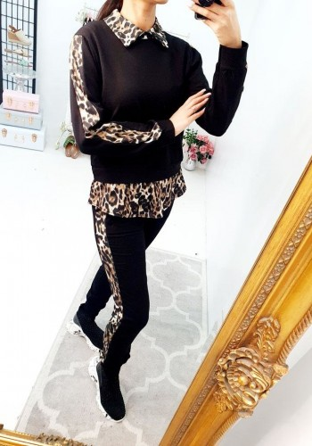 Rae Leopard Print Shirt Detailed Loungewear Set