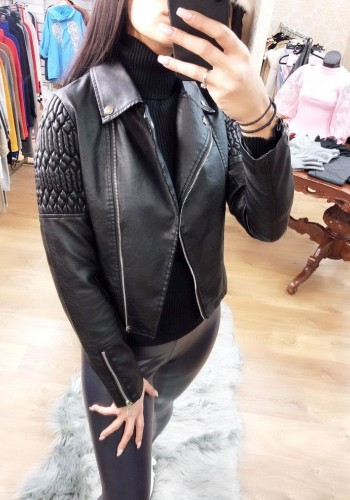 Raiden Black Rouched Detailed Faux Leather Biker Jacket