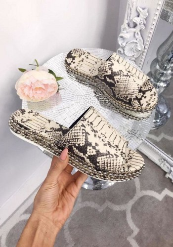 Raina Snake Print Studded Sliders