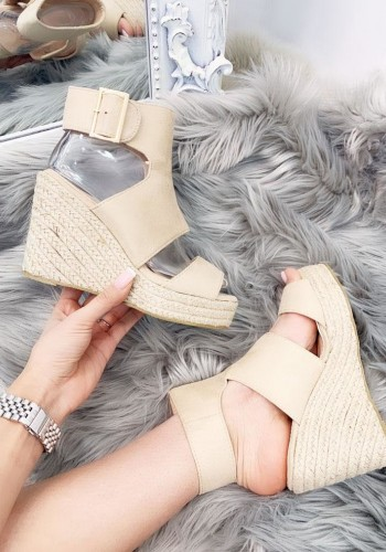 Remola Faux Suede Cut Out Buckle Espadrille Wedges
