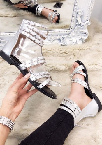 Rianna Metallic Diamante Studded Strappy Sandals