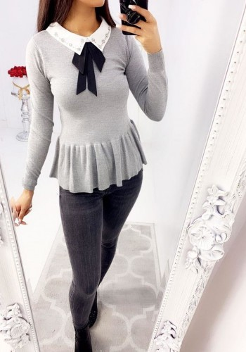 Ricardo Diamante Peter Pan Peplum Knitted Jumper