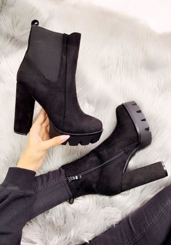 Romina Black Faux Suede Chunky Heel Boots