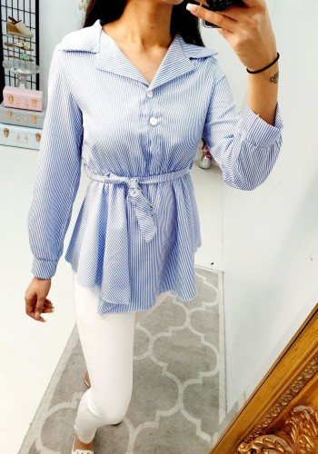Missy Striped Elasticated Tie Waist Shirt