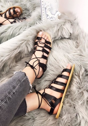 Ruby Faux Leather Tie Up Gladiator Sandals