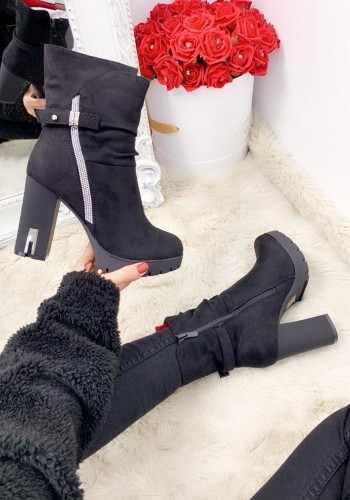 Sadie Black Faux Suede Diamante Detailed Block Heel Boots
