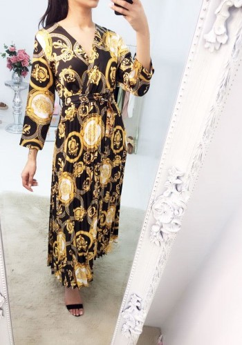 Saima Printed Waist Tie Pleated Maxi Dress