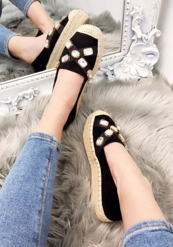Sally Faux Suede Jewel Detailed Espadrilles