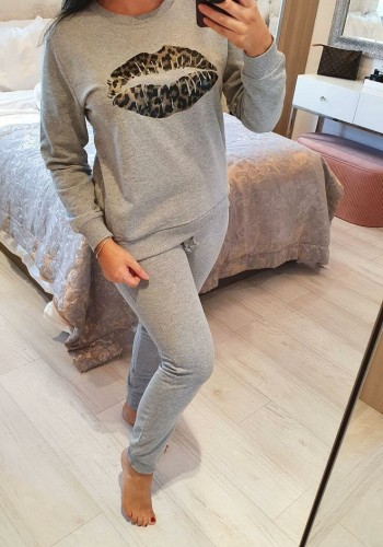 Sarah Leopard Foil Lips Detailed Loungewear Set