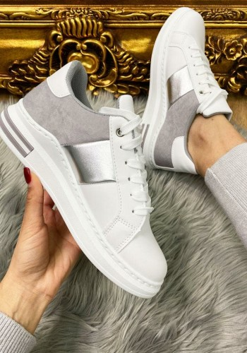 Sasha Grey Faux Suede Printed Metallic Detailed White Trainers