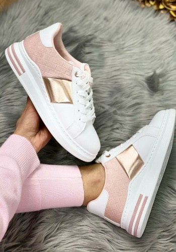 Sasha Baby Pink Faux Suede Printed Metallic Detailed White Trainers