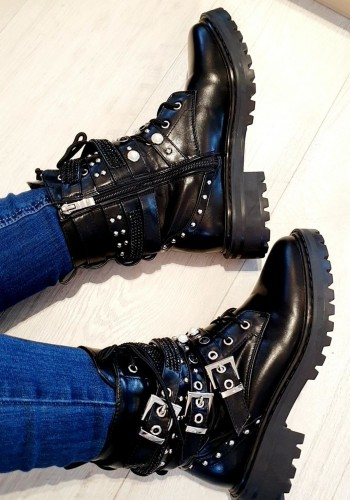 Floyd Black Studded Faux Leather Strappy Biker Boots