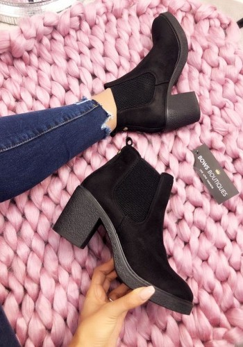 Selby Black Faux Suede Chelsea Boots