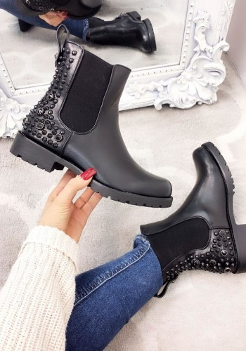 Shakira Black Faux Leather Studded Biker Chelsea Boots