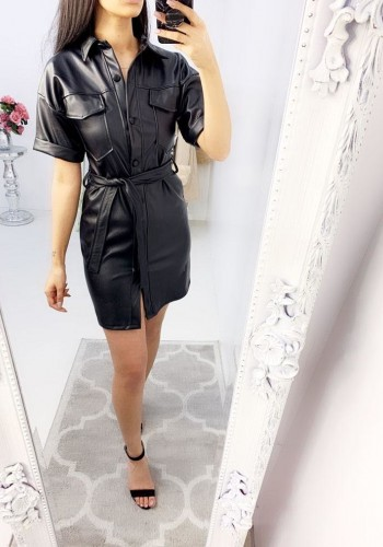 Shanice Faux Leather Tie Waist Button Dress