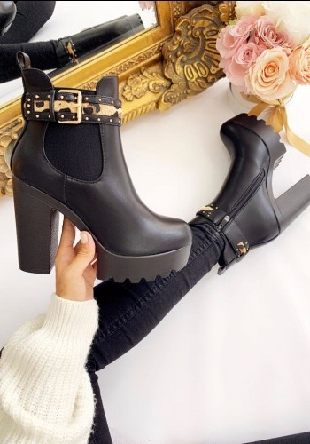 Sharina Black Faux Leather Leopard Buckle Chunky Heel Boots