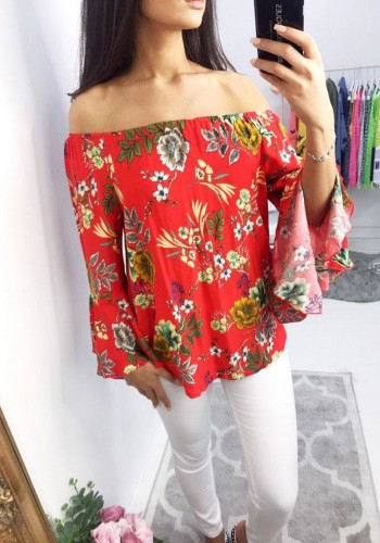 Shayna Bardot Floral Flared Sleeve Top