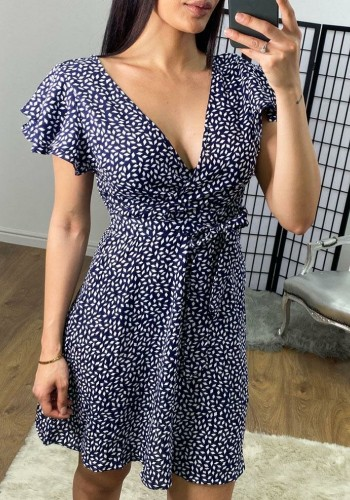 Sheba Navy Printed Wrap Tie Swing Dress