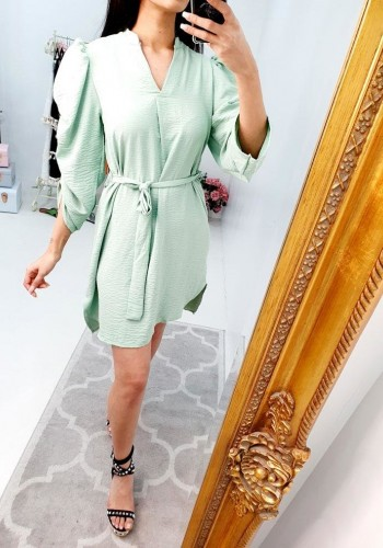 Shelia Puff Rouched Sleeve Tie Waist V-neckline Dress