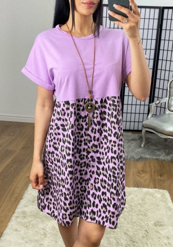 Sienna Leopard Print Necklace Button Dress