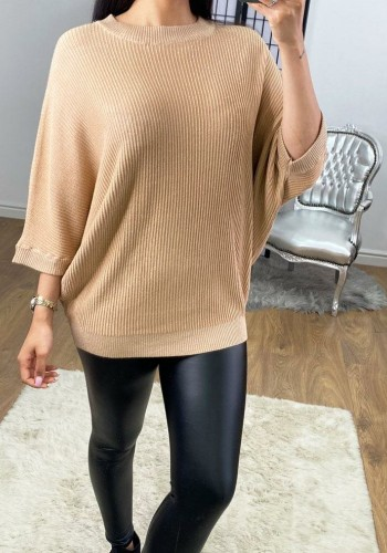 Simcox Ribbed Batwing Glitter Detailed Knitted Jumper