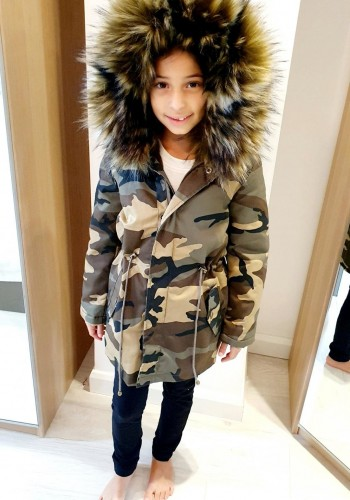 Sofia Kids Mix Khaki Camo Faux Fur Hooded Coat