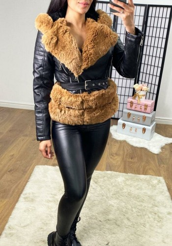 Sorveta Black With TAN  Faux Leather Hooded Faux Fur Belted Jacket