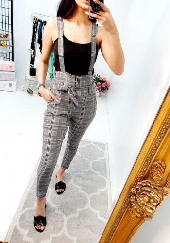 Stella Black And White Tartan Zip Tie Bow Dungarees