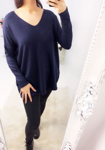 Sue Diamante V-neck Knitted Jumper