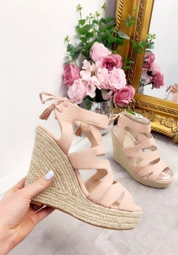 Suzie Cut Out Ankle Tie Wedges