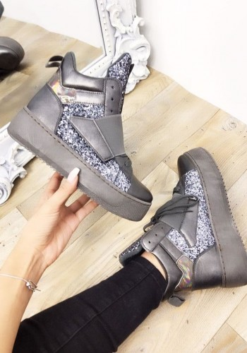 Taloulah Faux Leather Glitter High Top Trainers