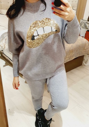 Taryn Gold Sequin Lips Detailed Knitted Loungewear Set