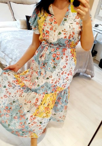 Tayla Floral Print Wrap Smock Maxi Dress
