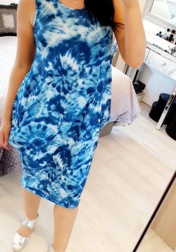 Kleo Blue Sleeveless Tie Dye Drape Dress