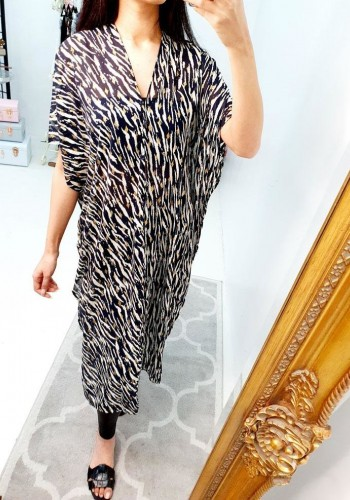 Tonia Animal Printed Navy Sheer Kaftan