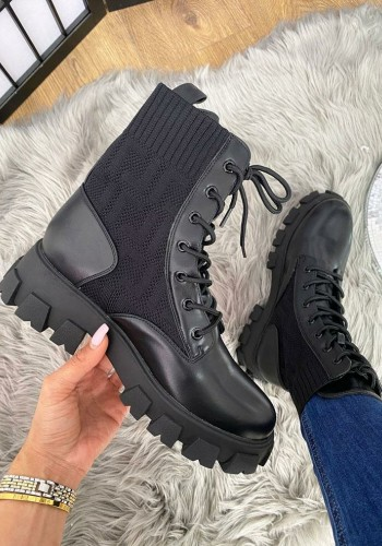 Toria Black Chunky Faux Leather Sock Ankle Boots