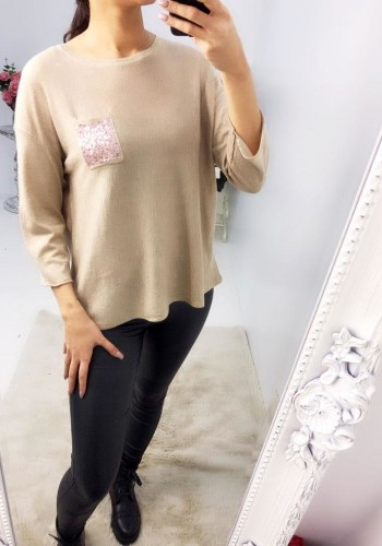 Trudy Sequin Pocket Knitted Thin Jumper