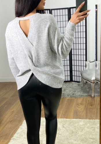 Chantelle Twist Back Detailed Ribbed Knit Jumper