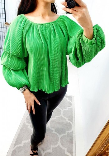 Tyra Ruffle Layered Pleated Top
