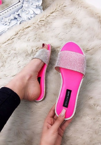 Una Diamante Padded Slip On Sliders