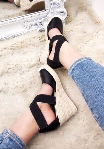 Venice Faux Leather Strappy Espadrille Wedges