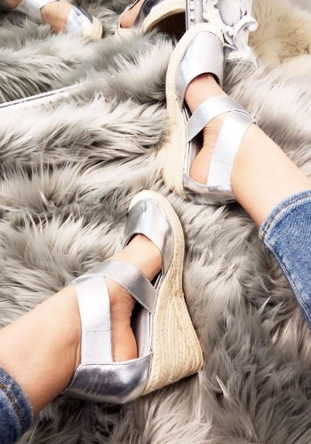 Venice Metallic Faux Leather Strappy Espadrille Wedges