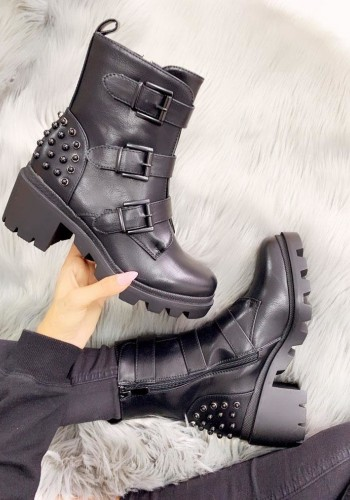 Venus Black Faux Leather Studded Buckle Biker Boots