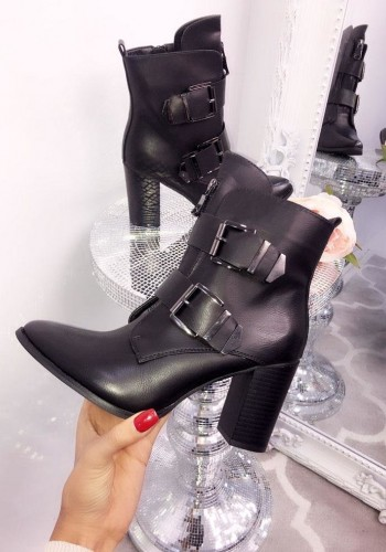 Vienna Faux Leather Pointed Toe Buckled Ankle Boots